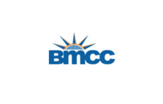 """logo for Borough of Manhattan Community College with a sunrise and below that """"BMCC"""""""