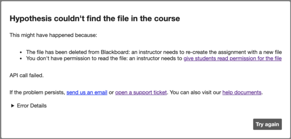 """Blackboard error """"Hypothesis couldn't find the file in the course"""""""