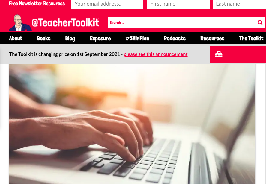 Online Teacher Toolkit website page with image of hands typing on a keyboard and the article title Online Feedback and Social Annotation