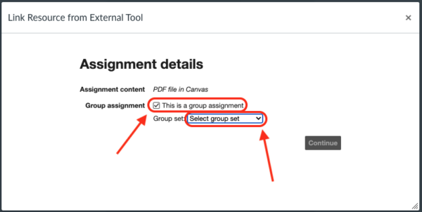 Configure as Canvas Group assignmenr
