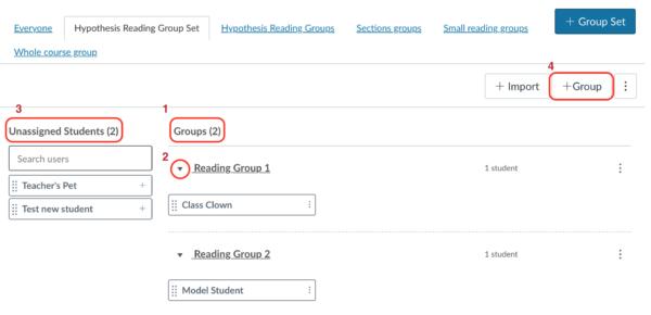 Canvas Group configuration page