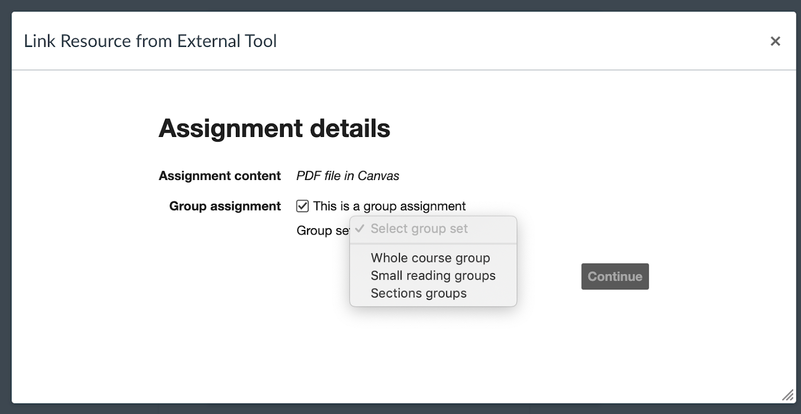 Screenshot showing choosing a Hypothesis-enabled reading using groups capabilities in the Canvas LMS.