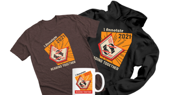 A brown t-shirt, black hoodie, and white mug all with the #ianno21 logo.