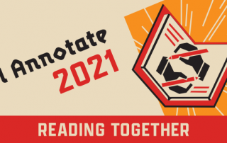 I Annotate 2021 logo with open book with hands writing in it and beside that are the words I Annotate 2021 and Reading Together.