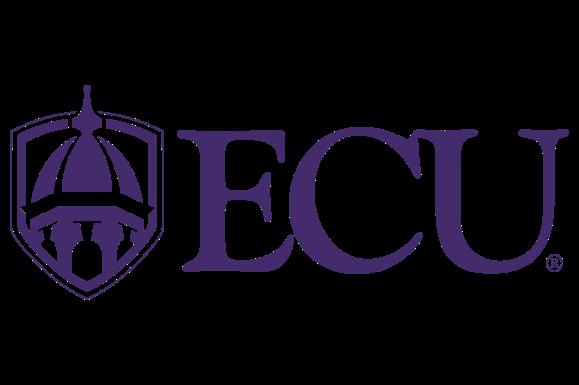 "East Carolina University logo in purple with white background and ""ECU"""