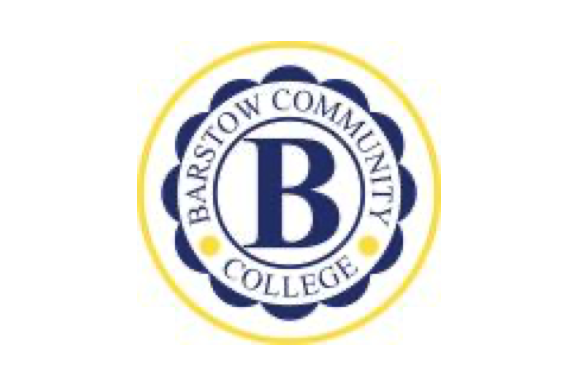 Barstow Community College logo with a B in the center of a circle and Barstow Community College written around it
