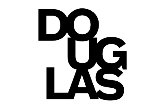 Douglas College logo with black uppercase letters stacked vertically to read Douglas on a white background