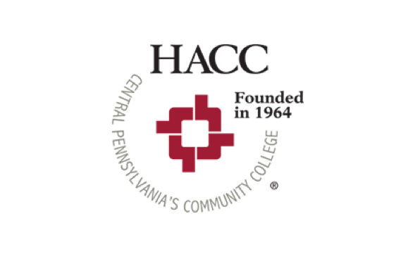 Harrisburg Community College logo with a red square surrounded by the words HACC Central Pennsylvania Community College Founded in 1964