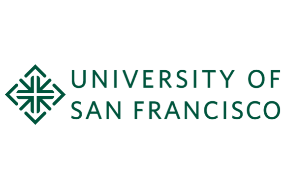 University of San Francisco logo in green lettering on a white background with a diamond-shaped logo and the name of the school