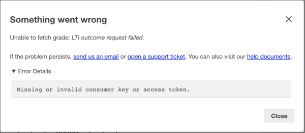 """Error """"Something went wrong: Unable to fetch grade"""""""