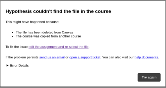 """Canvas error """"Hypothesis couldn't find the file in the course"""""""