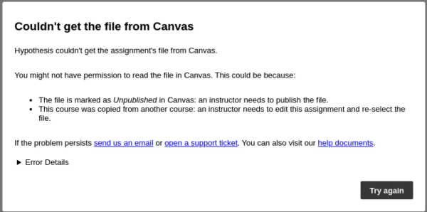 """Error """"Couldn't get the file from Canvas"""""""