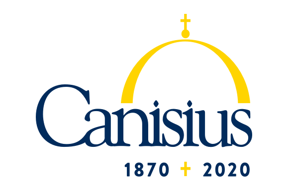"""Canisius College logo in blue and yellow on a white background and """"1870 + 2020"""" beneath it"""