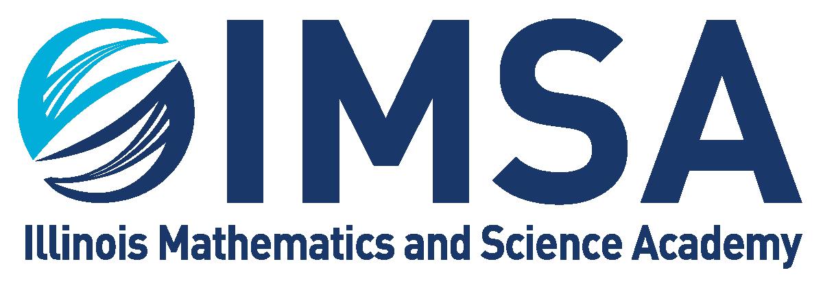 "Illinois Mathematics and Science Academy logo with name of school below nickname, ""IMSA"""