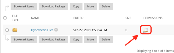 Location of folder Permissions icon.