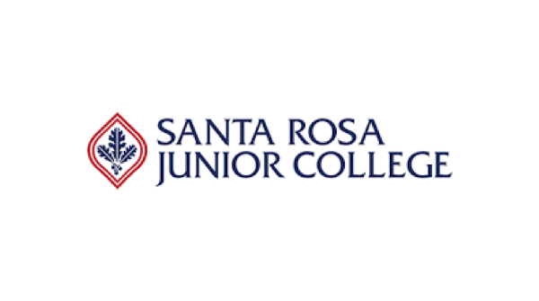 Santa Rose Junior College logo in red, white, and blue with three blue oak leaves with acorns