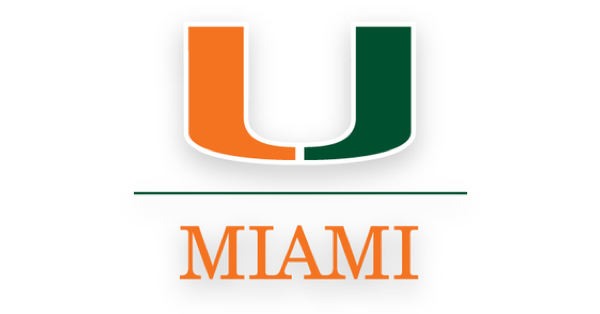 """University of Miami logo containing an orange and green U and """"MIAMI"""" underneath it."""
