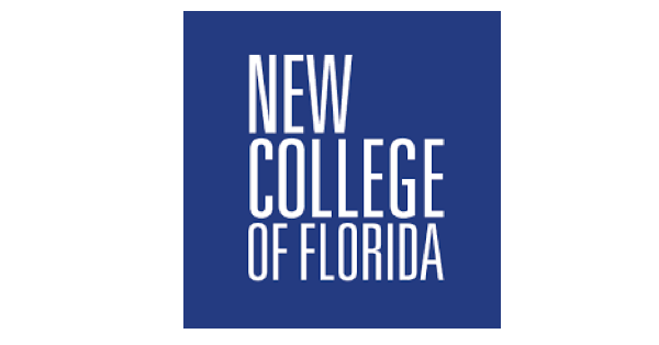 New College of Florida logo with name of the school is white letters on a navy blue background