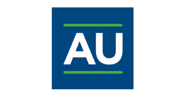 Aurora University logo AU in white with a line of bright green above and below the letters, which are set against a navy blue background