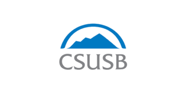 California State University logo with CSUSB in gray, topped with a mountain illustration in blue
