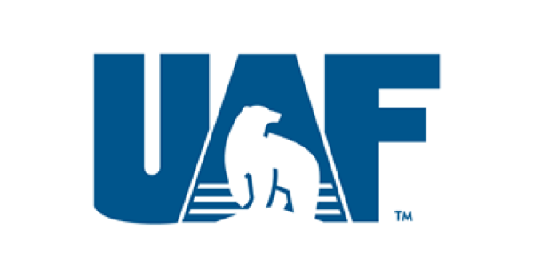 University of Alaska Fairbanks logo with UAF in blue on a white background and a polar bear inside the A
