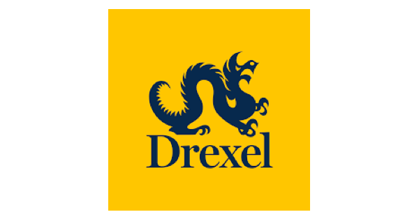 """Drexel University logo with """"Drexel"""" in navy blue lettering, a navy blue dragon above the name, and a bright yellow background."""