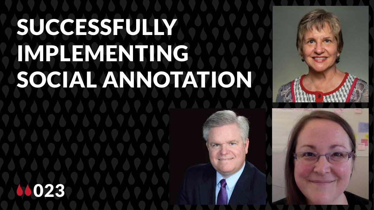thumbnail for Liquid Margins 023 with pics of guests Mela Lewandowski, Eric Hagan and Robyn Foshee and the words Successfully Implementing Social Annotation
