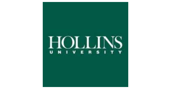 Hollins University logo with white lettering on forest green background