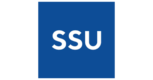 Sonoma State University logo with SSU in white letters on a navy blue background