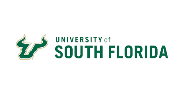 University of South Florida logo with name in green lettering on white background and illustration of a bull head