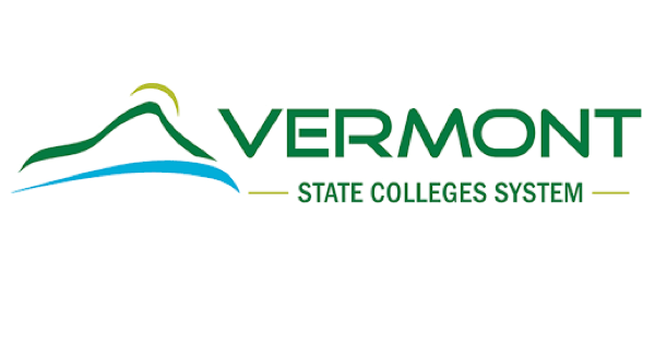 Vermont State Colleges System logo with name in bright green on a white background and an illustration of a blue river, green mountain and yellow sun setting over the mountain