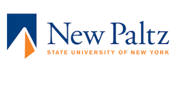 SUNY New Paltz logo on white background with blue lettering saying New Paltz and underneath that orange lettering spelling out State University of New York & with a blue, white and orange illustration of a pyramid-shaped image