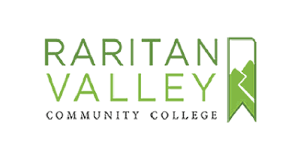 Raritan Valley Community College logo with the name in uppercase letters beside an illustration of two mountain peaks