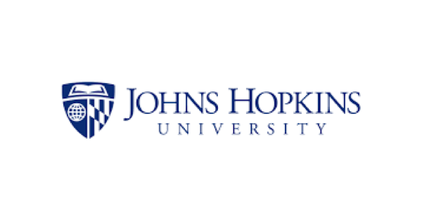 Johns Hopkins University logo with name in uppercase navy blue letters on a white background and to the left of the name a shield with a book, a globe and a chessboard in it