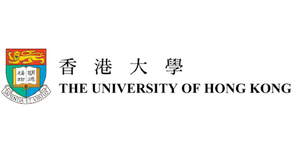 U of Hong Kong logo in black lettering on white background with a crest/shield containing a lion and a book, and underneath it is a scroll with the Latin phrase sapientia et virtus (wisdom and virtue)