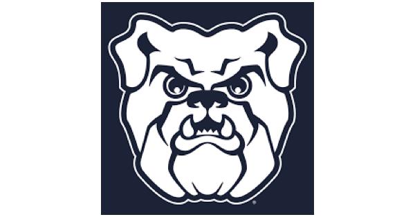 Butler University logo containing a white bulldog on a navy blue background