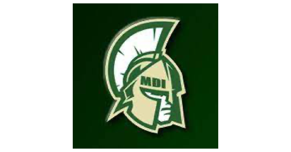 Mount Desert Island High School logo in green, yellow and white trojan soldier set against a forest green background and with MDI on their helmet