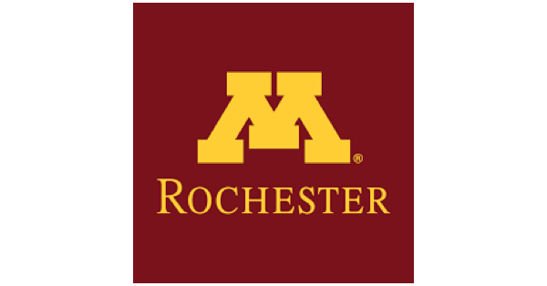 University of Minnesota Rochester logo with a bright yellow M on a maroon background, and under the M sits a bright yellow Rochester in all caps
