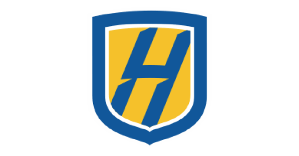 Hofstra University logo: a blue and yellow shield with a blue H centered in the shield
