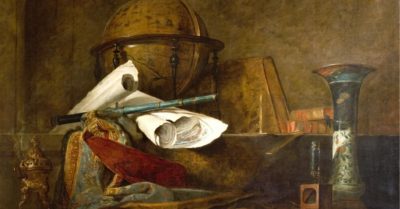 1765 still life oil painting showing a variety of early science tools, including a globe, a telescope, a microscope, a square, an incense burner, a vase, some fabric, and scrolls and books on a brownish surface and background. Image credit: Attributes of the Sciences (https://commons.wikimedia.org/wiki/File:Chardin_-_Les_attributs_des_Sciences.jpg) by Jean-Baptiste-Siméon Chardin, CC BY-SA (https://creativecommons.org/licenses/by-sa/4.0) via Wikimedia Commons.