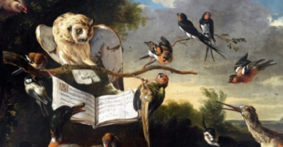 1670 oil painting of a variety of birds gathered around a music book, open on a branch in the trees, with a large white owl perched right above the book and clouds in the distant sky. Image Credit: The Concert of Birds (https://commons.wikimedia.org/wiki/File:Hondecoeter,_Melchior_d%27_-_Das_Vogelkonzert_-_1670.jpg) by Melchior d'Hondecoeter, public domain, via Wikimedia Commons.