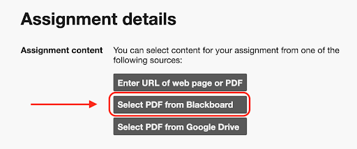 A screenshot of the Assignment Details view in the Hypothesis LMS App in Blackboard, showing three assignment sources: a web URL, a PDF in Blackboard (circled in red with a red arrow pointing to it), a PDF in Google Drive.