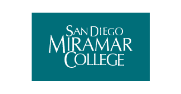 Square San Diego Miramar College logo with the name of the school in white upper-case letters on a green background