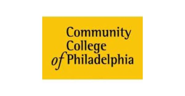 Square Community College of Philadelphia logo with name of college in black on a bright yellow background