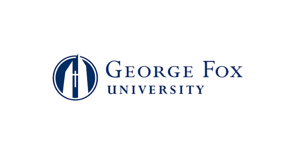 Navy blue and white George Fox University logo, with the name and navy blue and an illustration of a building with a cross on it