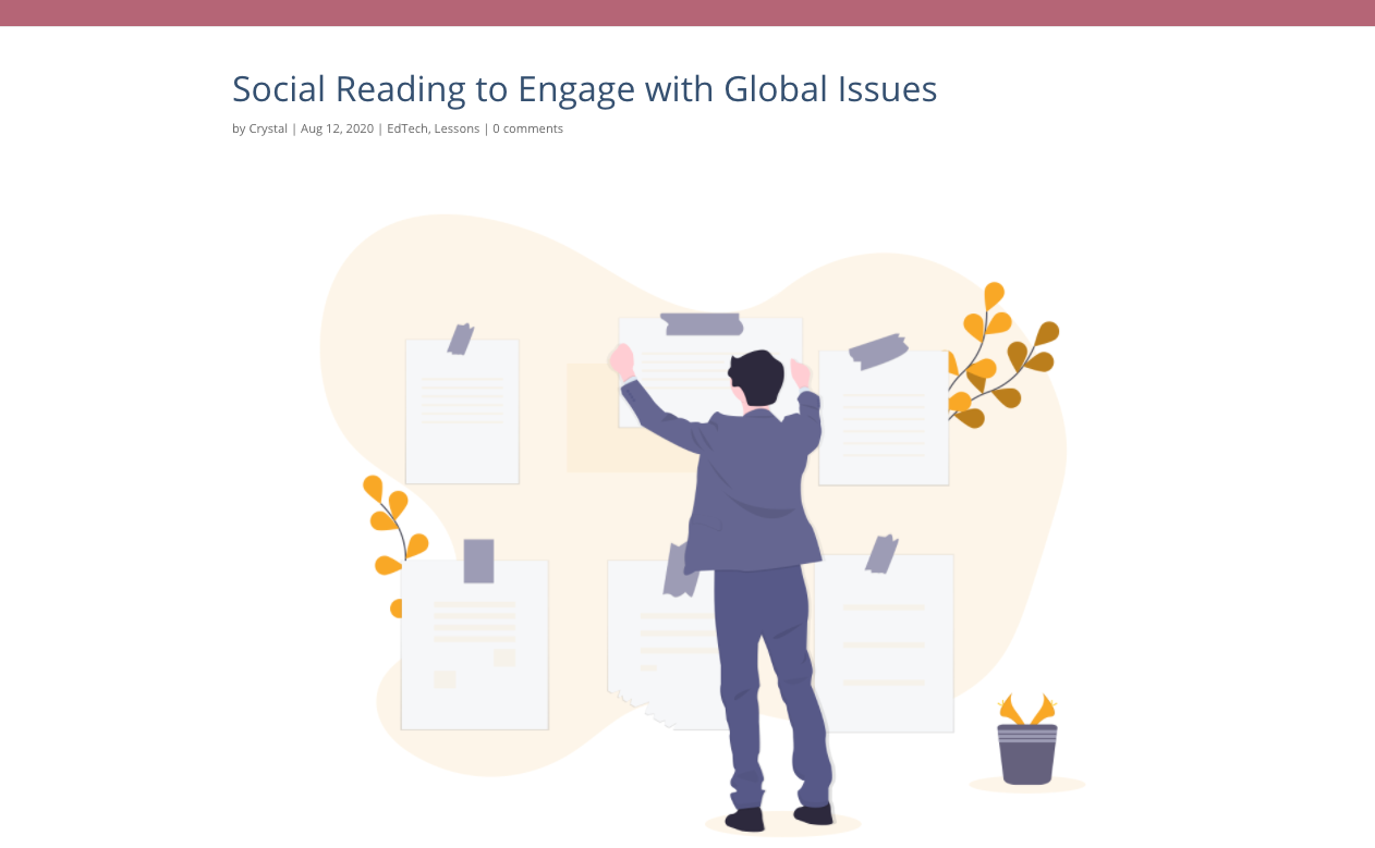 Screenshot of the image at the top of a post titled Social Reading to Engage with Global Issues, showing a person wearing a suit hanging posters on an abstract shape.