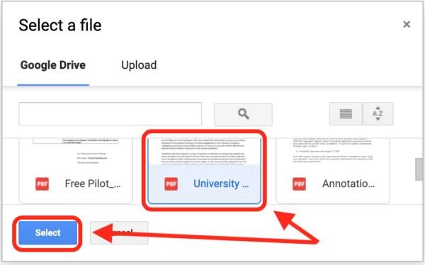 Google Drive picker