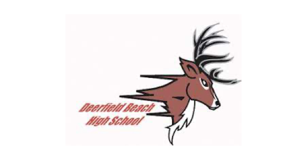 Deerfield Beach High School logo with name of school in orange and an illustration of a buck in profile