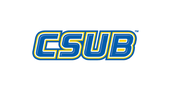 California State University Bakersfield logo with CSUB in purple letters outlined in yellow on a white background