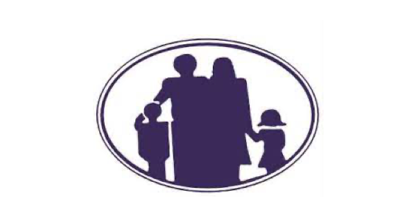 Lawrence Family Development Charter School logo in white background with purple oval with a silhouette of a family in purple
